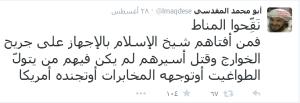 tweet von maqdisi kritik an sahawt